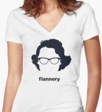 Flannery O' Connor (Hirsute History) Women's Fitted V-Neck T-Shirt