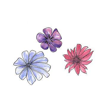 HandPainted Watercolor Flowers Pink Purple Blue by Quidama