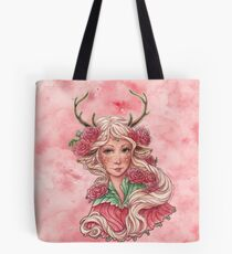 Faun Girl with Pink Flowers Tote Bag