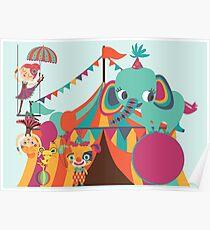 Big Top Circus Trapeze Elephants Clown Poster