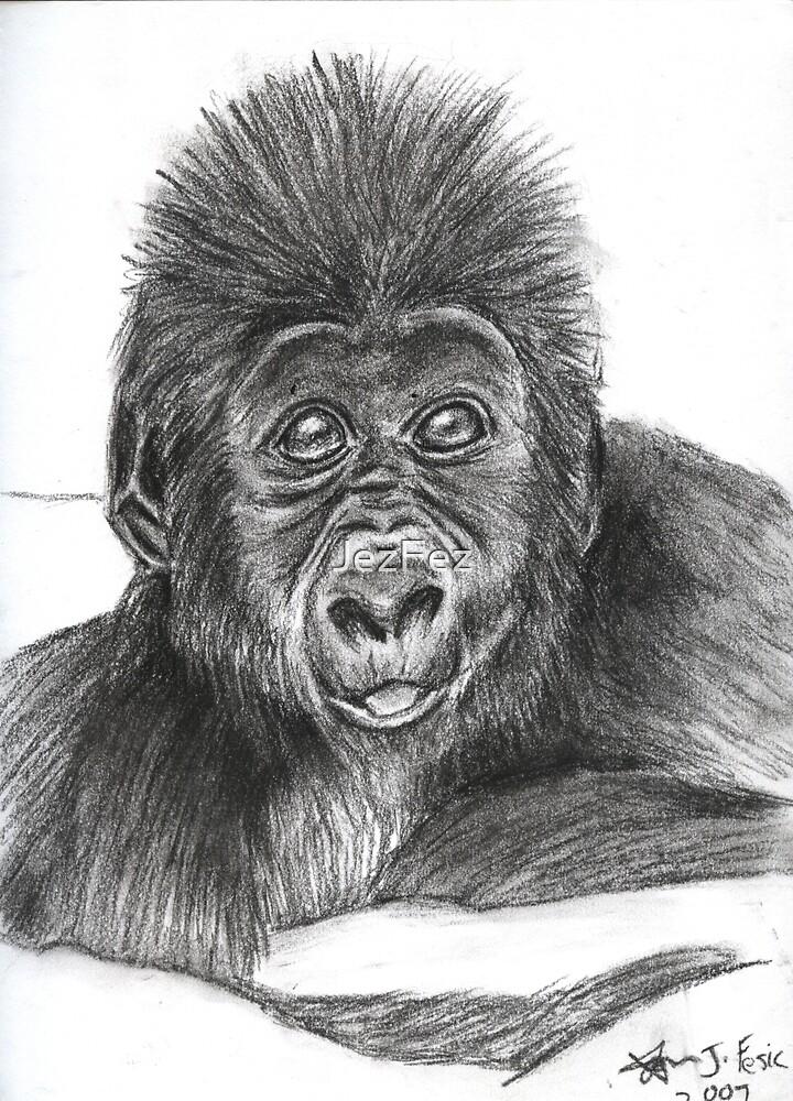 Cheeky lil' Gorilla by JezFez