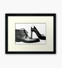 fashionable male and female shoes  Framed Print