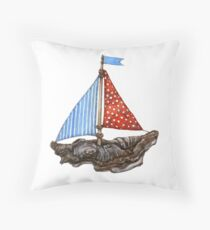 Driftwood Ship Throw Pillow