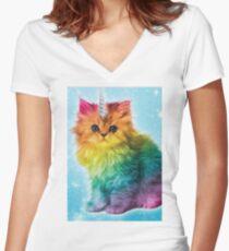 Unicorn Rainbow Cat Kitten Women's Fitted V-Neck T-Shirt