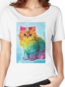 Unicorn Rainbow Cat Kitten Women's Relaxed Fit T-Shirt