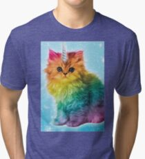 Unicorn Rainbow Cat Kitten Tri-blend T-Shirt