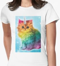 Unicorn Rainbow Cat Kitten Womens Fitted T-Shirt