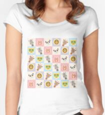 Set of funny animals  Women's Fitted Scoop T-Shirt