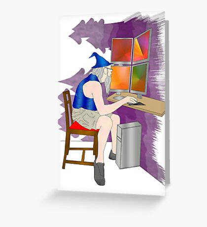 computer wizard   Greeting Card