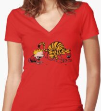 Calvin And Hobbes : Get Set, Ready, Go ... Women's Fitted V-Neck T-Shirt