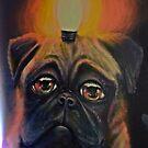 Pug dog & light by heinrich