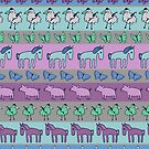 Strolling Striped Pigs and Ponies - Winter - pretty pattern by Cecca Designs by Cecca-Designs