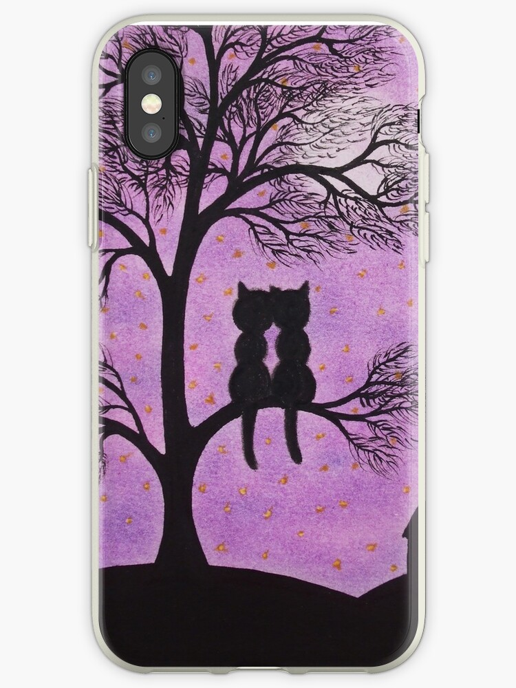 Love Cats in Tree with Moon and Stars by Claudine Peronne