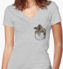 Pocket Deathclaw Women's Fitted V-Neck T-Shirt