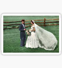 Coloized JFK & Jackie as Newly Weds 1953 Sticker