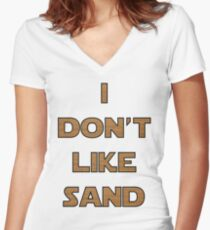 I don't like sand - version 2 Women's Fitted V-Neck T-Shirt