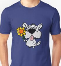 Cool Funny White Shaggy Dog with Flower T-Shirt