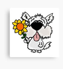 Cool Funny White Shaggy Dog with Flower Canvas Print