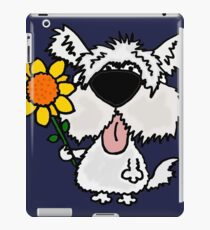Cool Funny White Shaggy Dog with Flower iPad Case/Skin