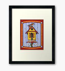 Birdhouse with Bird Framed Print