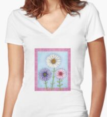 Three Watercolored Daisies Women's Fitted V-Neck T-Shirt