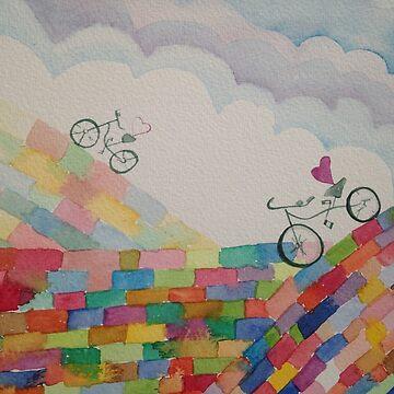 Rainbow bicycle by narrowboatexp