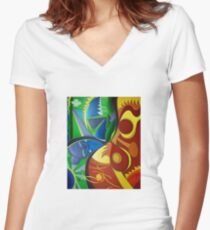 Color Chaos / Abstract Art - Colorful Women's Fitted V-Neck T-Shirt