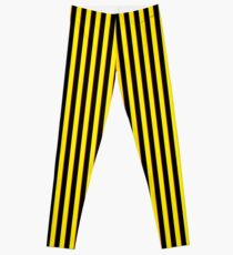 Vertical Stripes Yellow Black and Red Leggings