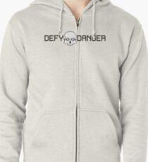 Defy Danger Logo - White Zipped Hoodie