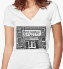 """""""Antiques, Clinton Mall, #2""""... prints and products Women's Fitted V-Neck T-Shirt"""