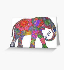 Psychedelic Elephant Greeting Card
