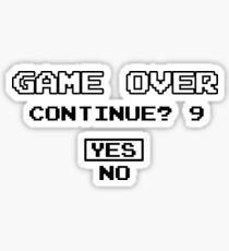 Game Over Continue Gaming Retro Old School 90s  Sticker