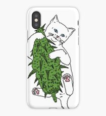 Cat Wrapped Around Weed Bud iPhone Case