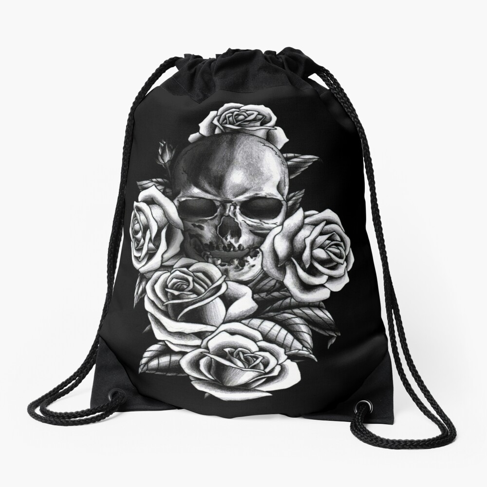 Skull and Roses Drawstring Bag