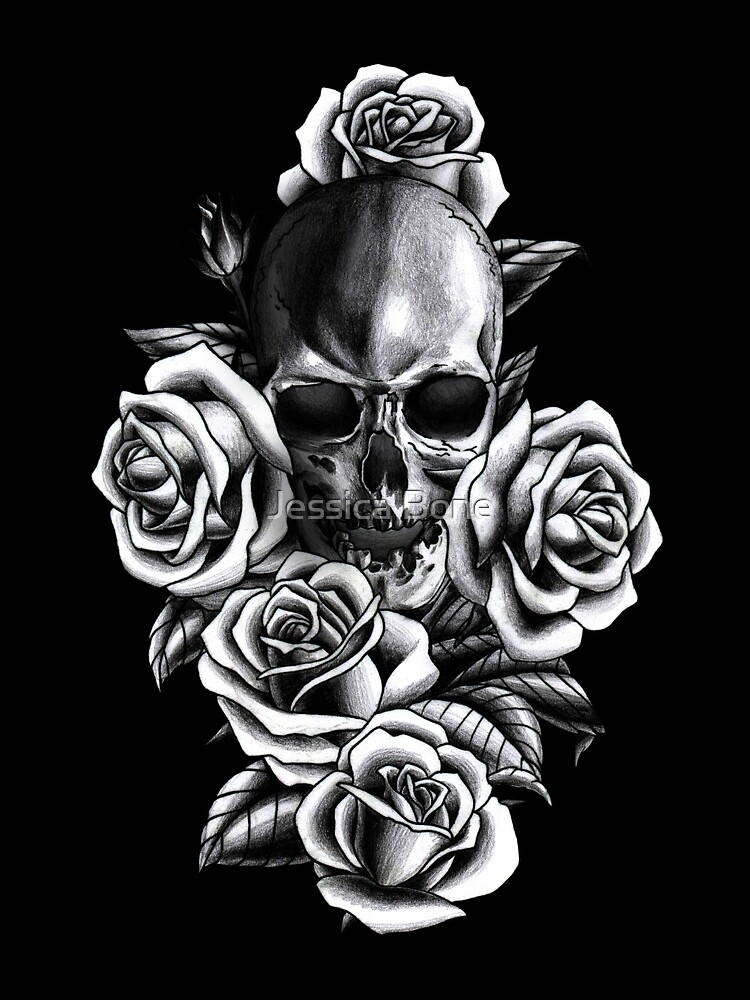 Skull and Roses by bonedesigns