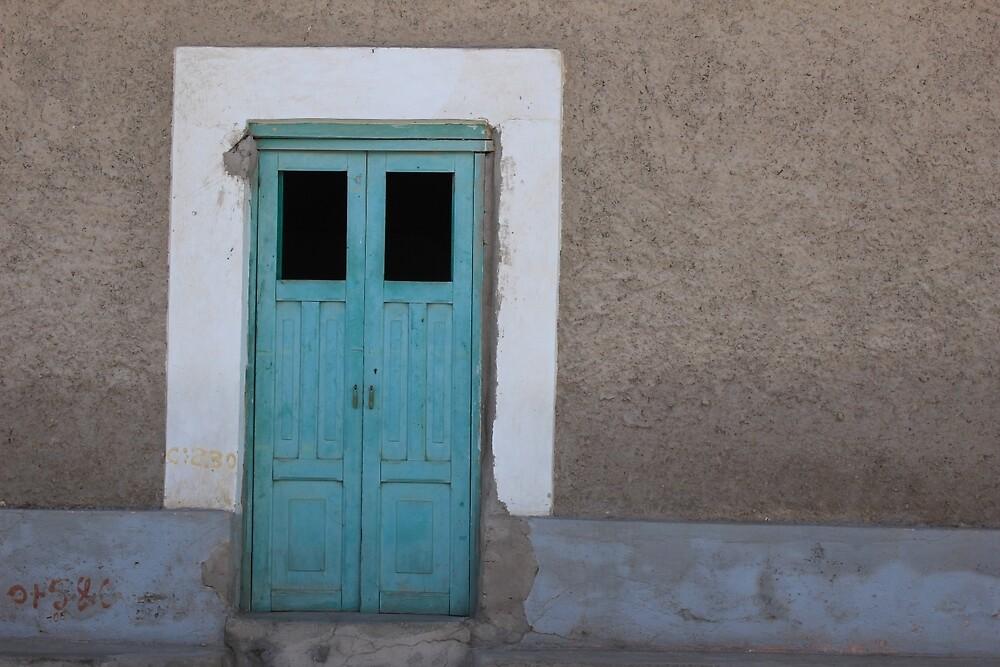 Blue Door in a Brown Wall by rhamm