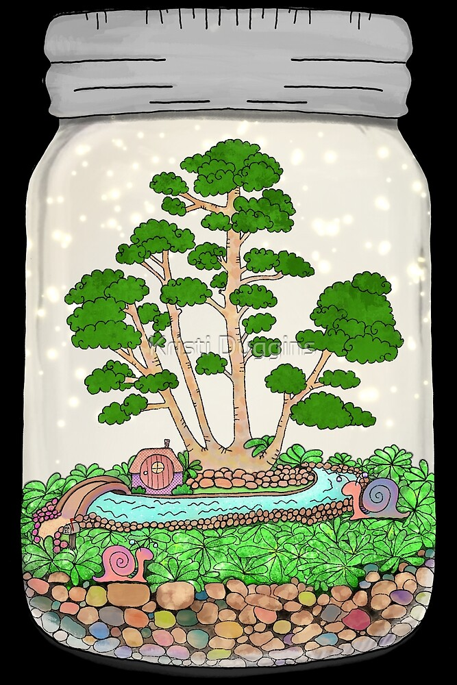 Bonsai Tree and Snails, Terrarium Jar No. 1 by Kristi Duggins