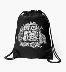 You'll Be In My Heart (On Black) Drawstring Bag