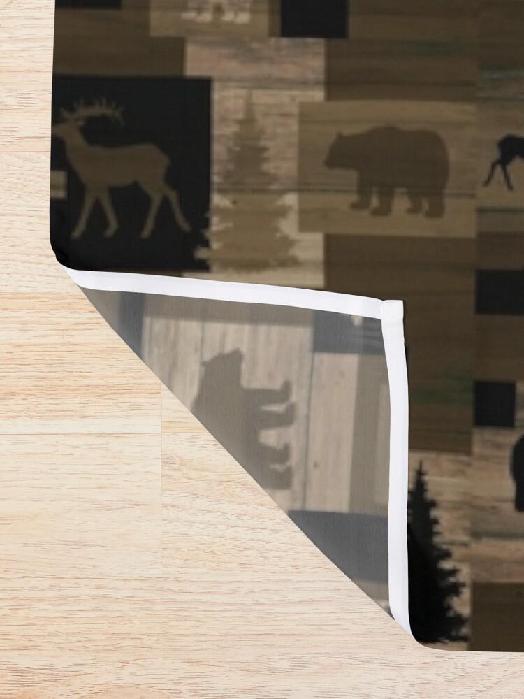 Alternate view of Rustic wood bear moose pattern Shower Curtain