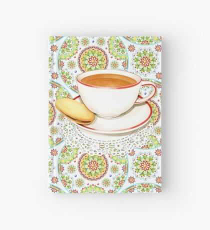 Cup of Tea on Mandala Cloth Hardcover Journal