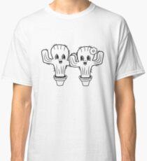 couple love woman male female boy girl boy flowerpot cute little cactus face comic cartoon child Classic T-Shirt