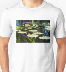Waterlilies - Sunny Green and Purple Impressions Unisex T-Shirt