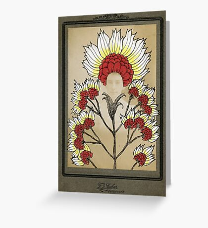 Red Flowers Bride Greeting Card