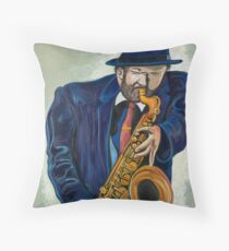 Sax Man Throw Pillow