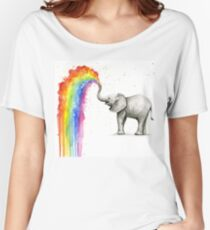 Baby Elephant Spraying Rainbow Women's Relaxed Fit T-Shirt