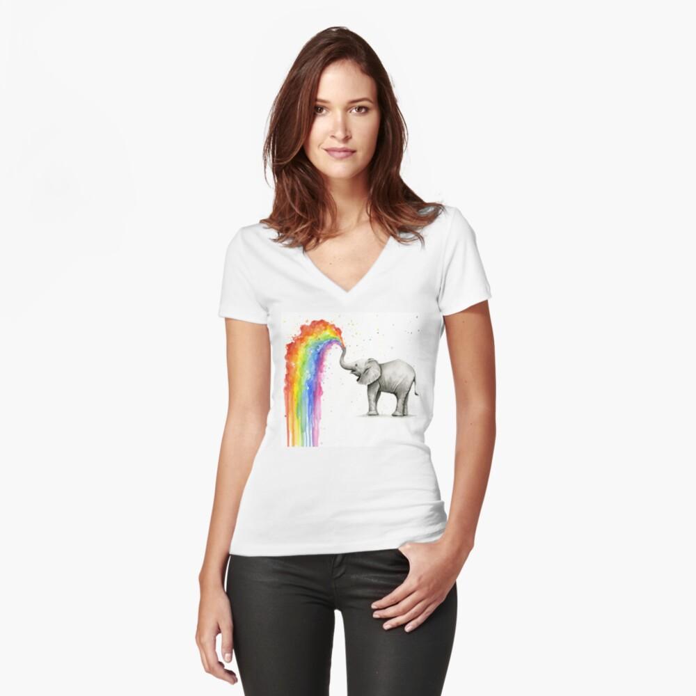 Baby-Elefant-Sprühregenbogen Tailliertes T-Shirt mit V-Ausschnitt