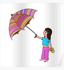 Girl with umbrella Poster