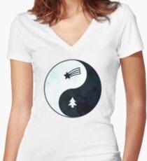 Gravity Falls Yin Yang Women's Fitted V-Neck T-Shirt