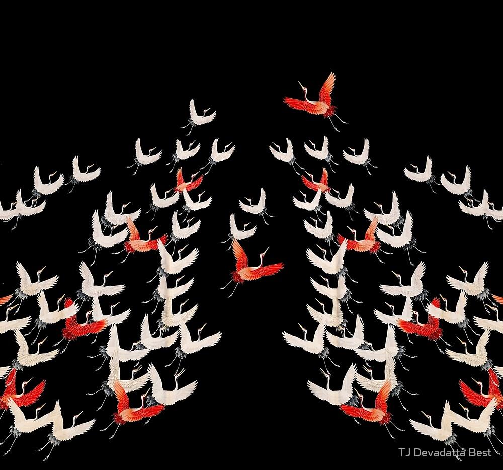 Flying crane kimono motif / design by TJ Devadatta Best