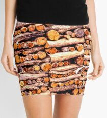 Stack of fire cut firewood cut to small lengths Mini Skirt